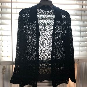 I.N.C.Gorgeous Blouse Black Sheer Satin Design